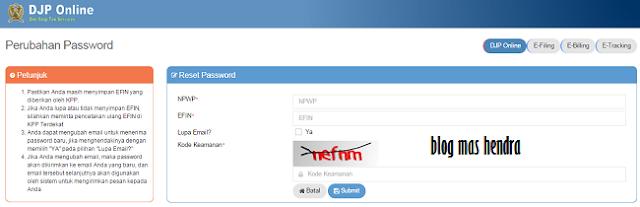 Tampilan Laman Perubahan Password - Blog Mas Hendra