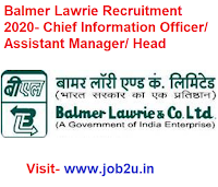 Balmer Lawrie Recruitment 2020, Chief Information Officer, Assistant Manager, Head