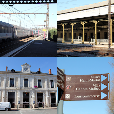 Arriving at the train station of Cahors.