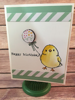 This Happy Birthday Chick card uses Stampin' Up!'s Sale a Bration stamp set, Honeycomb Happiness!  You can only get it through March 31, 2016!!  HURRY!  We masked off the chick to stamp the balloon so that he's holding it.  We also used the Aqua Painter, Party With Cake Stamp Set, and the It's My Party designer paper.  www.stampwithjennifer.blogspot.com
