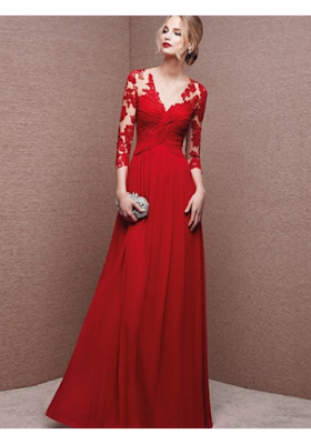 A-line Scoop Floor-length Chiffon Prom Dresses/Evening Dresses #SI006