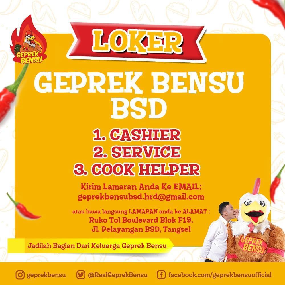 Lowongan Kerja Sma Smk Geprek Bensu Terbaru 2019 Infonesia45