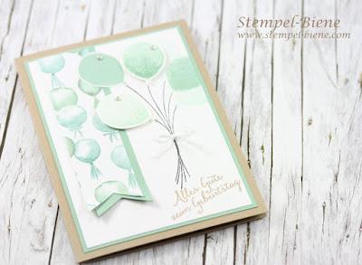 Stampin up Partyballons, stampin up Frühjahrskatalog 2014, Stampin up sale a bration 2016, stampin up Geburtstagskarte mit Partyballons, Stempel-Biene