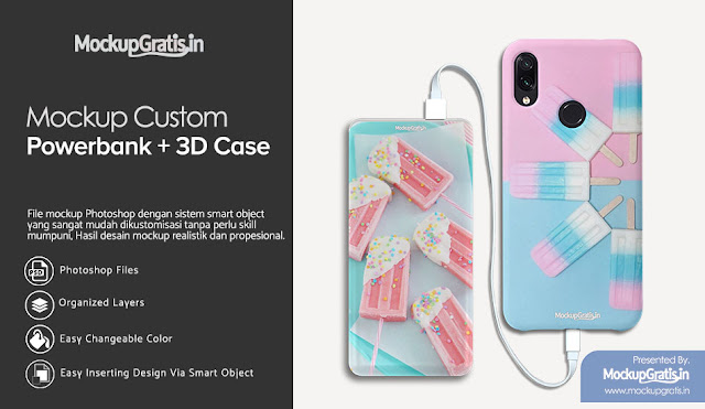 PSD Mockup Custom Case Powerbank Delcell Mars