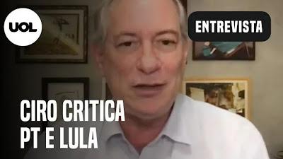 Ciro Gomes critica PT por escolher Haddad e fala sobre mansão de Flávio e impeachment