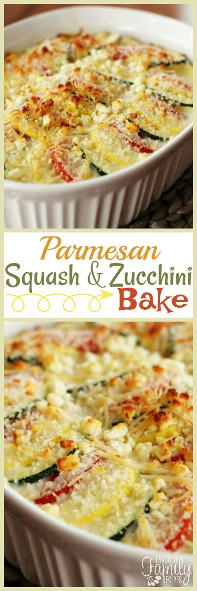 Parmesan Squash Casserole is a perfect way to use up all that squash and zucchini from the garden.  Layered with tons of cheese, this is a delightful side dish to any meal.