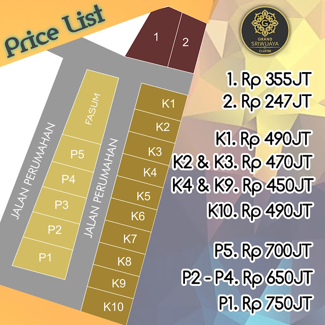 Price List Grand Sriwijaya Cluster