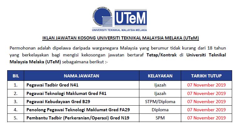 Jawatan Kosong Universiti Teknikal Malaysia Melaka Utem Kelayakan Spm Diploma Ijazah Ejawatankini Com