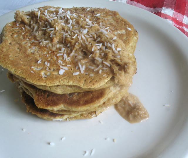 Toasted Coconut Pancakes with Toasted Coconut Sauce