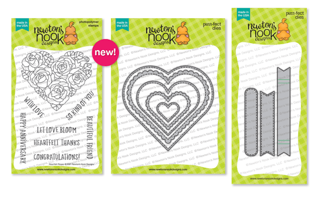 Heartfelt Roses Stamp set, Heart Frames Die Set and Banner Trio Die Set by Newton's Nook Designs