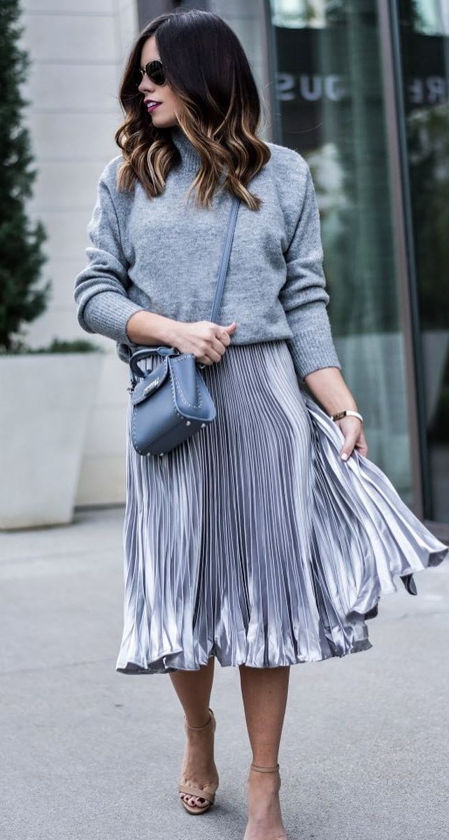 all gray everything: top + skirt