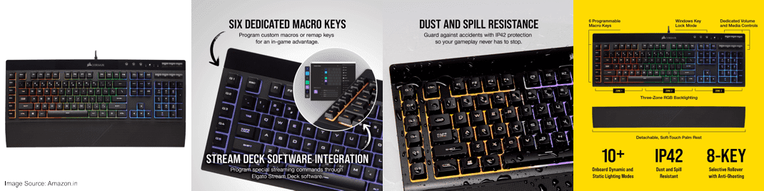 CORSAIR K55 Gaming Keyboard (RGB) - Wrist Rest & Onboard Macro Recording