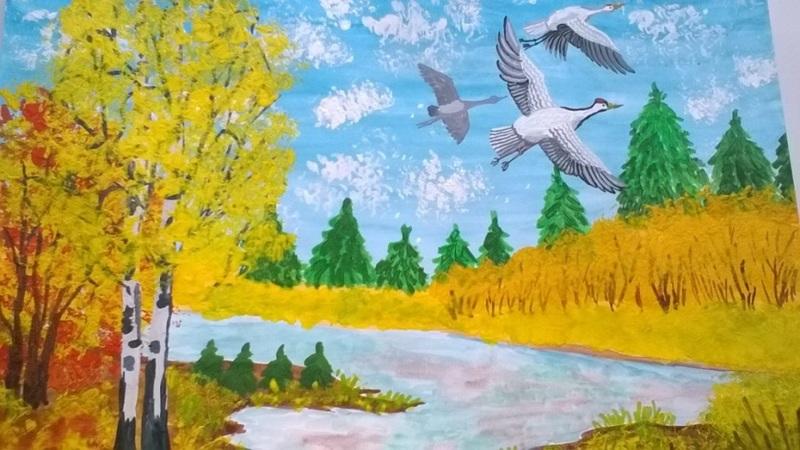 Рисунки детей перелетные птицы осенью