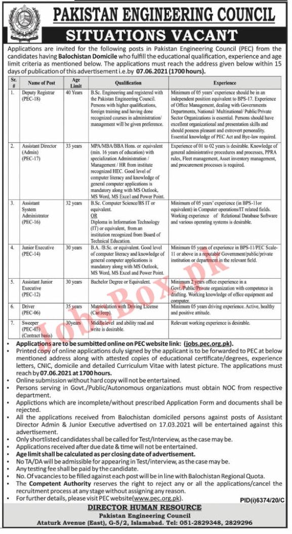 Latest Pakistan Engineering Council PEC Jobs Advertisement 2021
