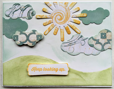 Keep Looking Up card featuring Quick Quotes PowderPuff Chalk Inks and Chiffon Collection designed by Alicia O'Bryant