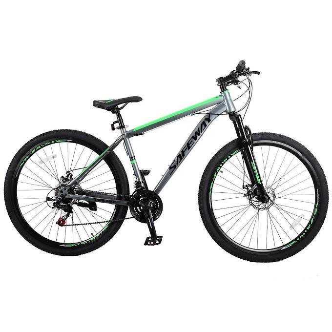 Bicicleta Aro 29 Safeway Aço Carbono 21 marchas Shimano Freio a Disco e Suspensão - Cinza e Verde
