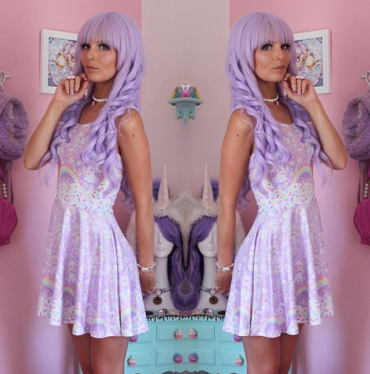 lavender hair kawaii fashion