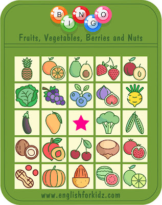 Printable fruits and vegetables bingo game for ESL students