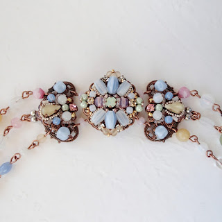 pastel color jewellery, pastels, vintage style necklaces, rhinestone jewelry