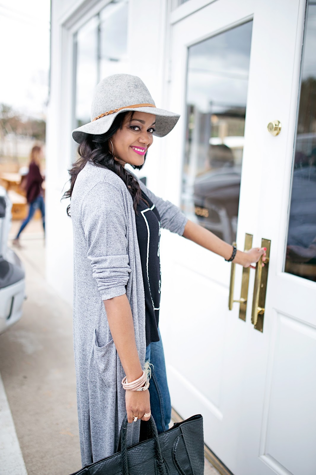 h&m long cardigan- will work for shoes graphic tee- kohls- ripped boyfriend jeans- gray suede ankle booties- celine style bag, gray floppy hat- mac flat out fabulous- dallas blogger- fashion blogger- black girl blogger