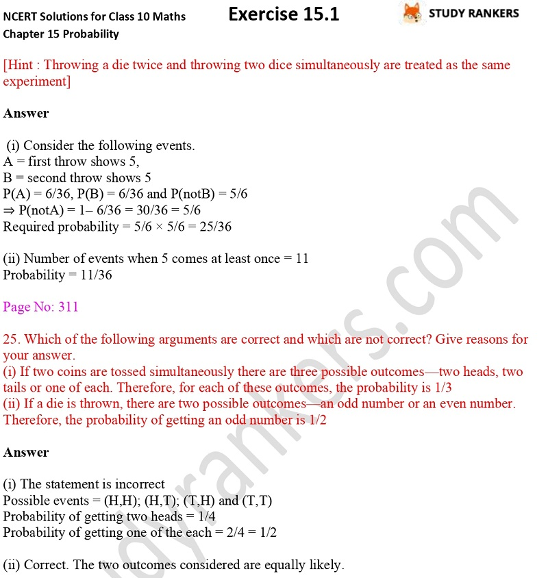 NCERT Solutions for Class 10 Maths Chapter 15 Probability Exercise 15.1 Part 10