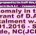 7CPC : Anomaly in the grant of DA instt. wef 1.1.2016 - Staff Side, NC(JCM)