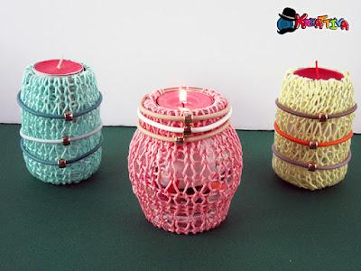 Porta candele con filo realizzato con maglia tubolare creata con prym midi