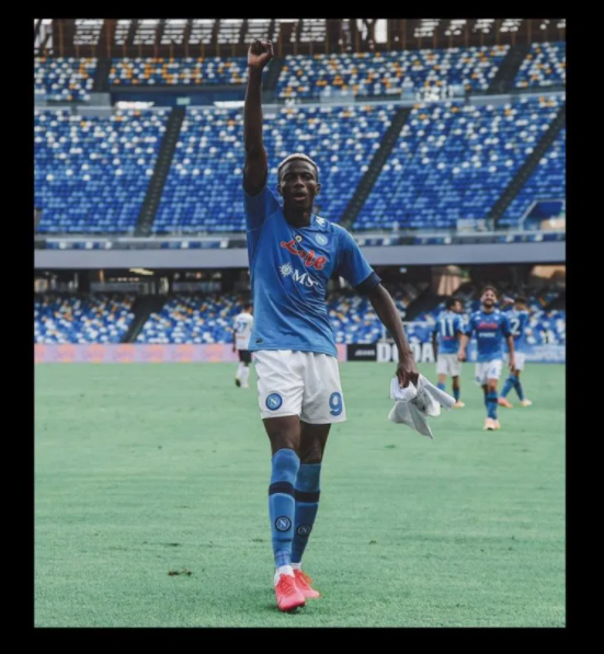 #EndSARS: Super Eagles and Napoli star, Victor Osimhen celebrates his first Serie A goal with an #EndPoliceBrutality shirt (Photographs)