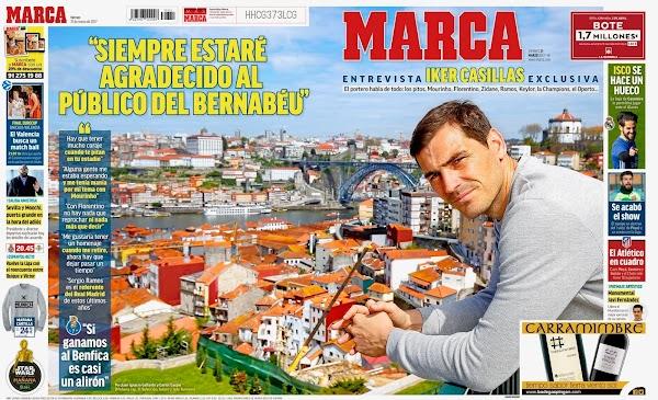"""Casillas, Marca: """"Siempre estaré agradecido al público del Bernabéu"""""""