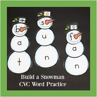 snowman cvc word practice