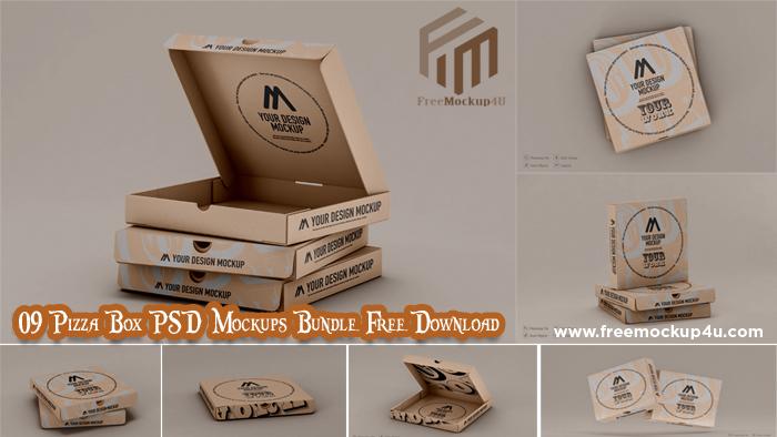 09 Pizza Boxes PSD Mockups Bundle Free Download