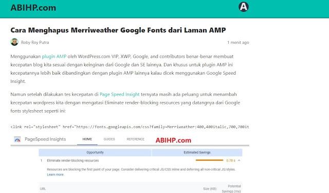 Tampilan AMP