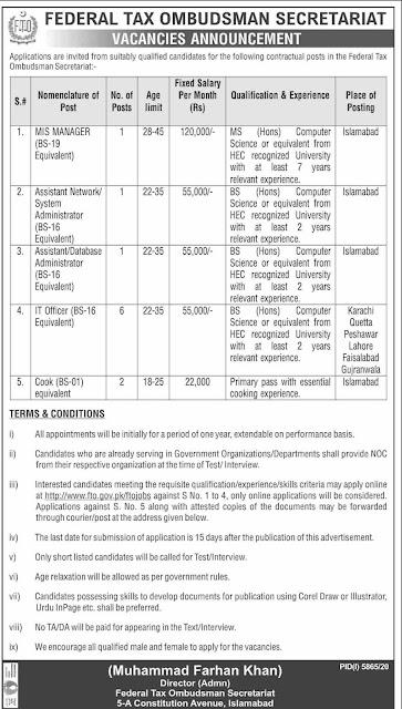 Latest Jobs Federal Tax Ombudsman Secretariat in Islamabad 2021