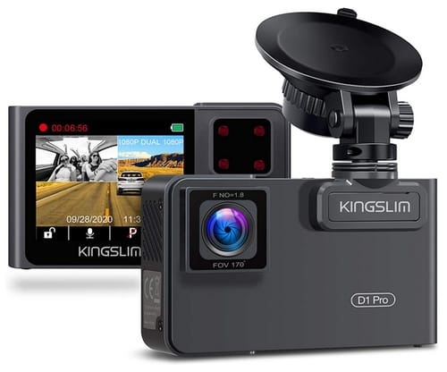 Kingslim D1 Pro Front and Cabin Dash Camera for Cars