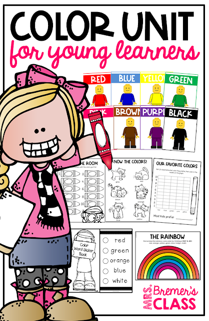 Complete color unit for young learners! Includes 10 fun activities to help kids learn their colors and color words. Pack includes posters, Color Word sticker books for assessment, rainbow learning, Color the Room, color by color word worksheets, and much more! Common Core aligned for Pre-K, Kindergarten, and First Grade. #colorunit #colors #kindergarten #firstgrade #backtoschool