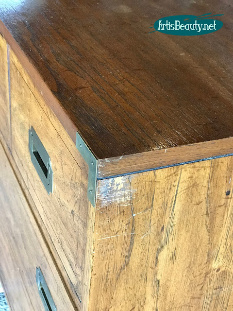 beat up old campaign dresser given makeover using general finishes milk paint
