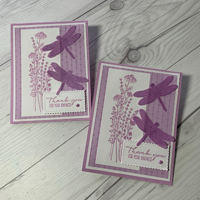Two handmade greeting cards featuring dragonflies punched with the Dragonflies Punch and coordinating Dragonfly Garden Stamp Set from Stampin' Up!