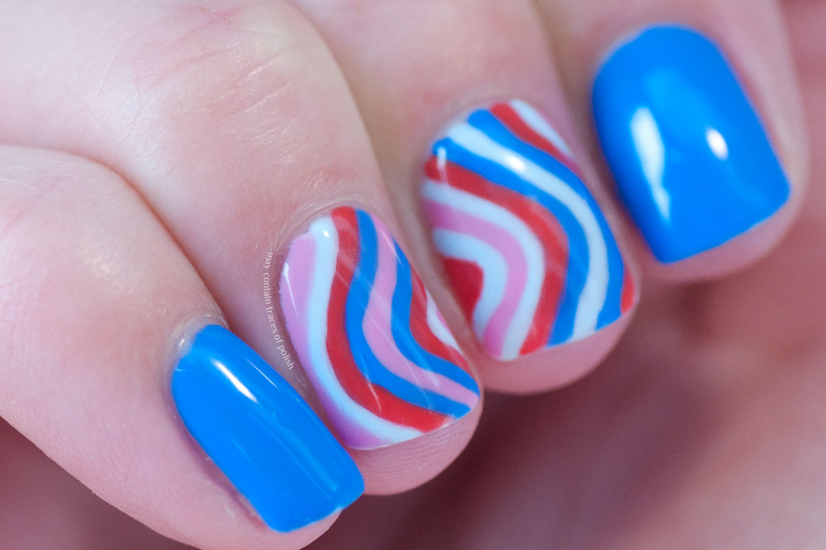 Gel Striped Nail Art Design with Pink Gellac