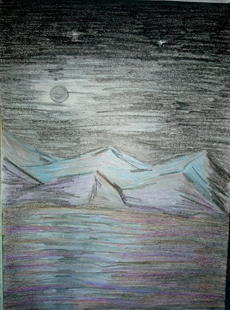 drwing image of moon in night.