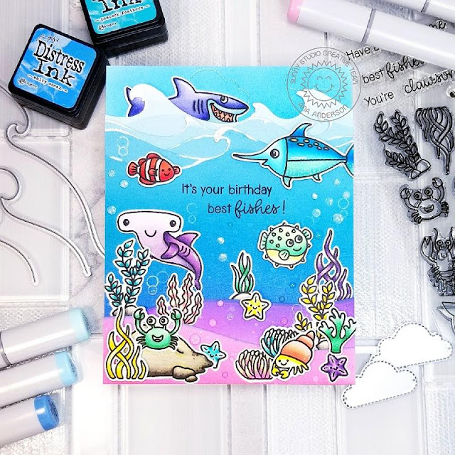 Sunny Studio Stamps: Best Fishes Catch A Wave Dies Magical Mermaids Ocean Themed Punny Birthday Card by Ana Anderson