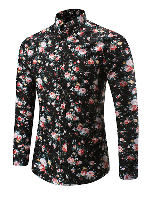 Lapel Long Sleeve Floral Print Men's Casual Shirt