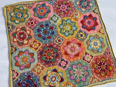 Persian Tiles Eastern Jewels crochet blanket spread out