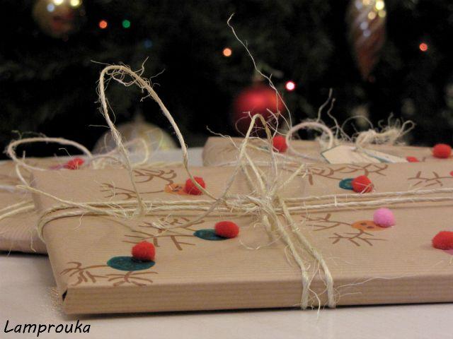 Χριστουγεννιάτικη συσκευασία δώρου.
