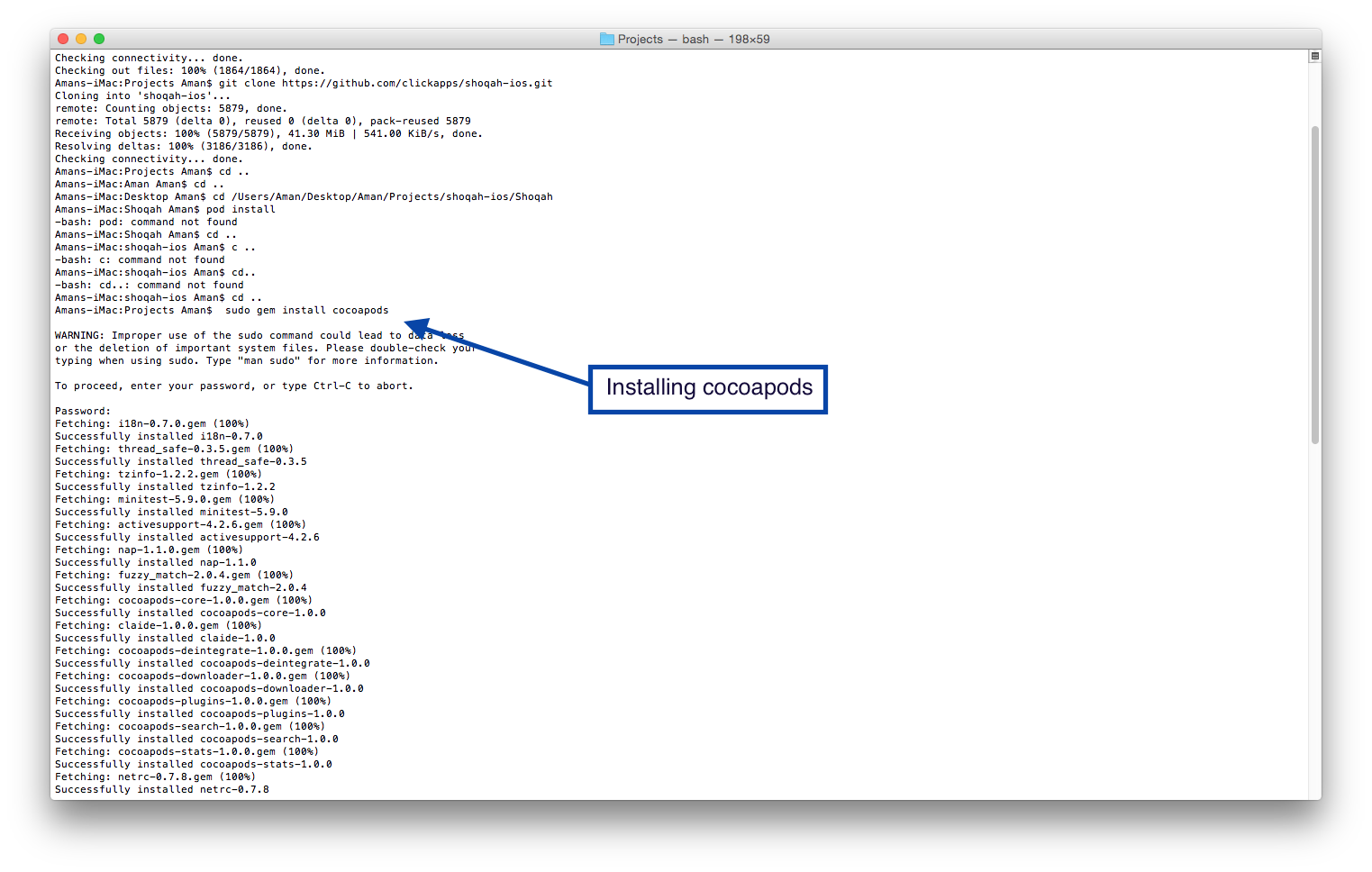 Gem Install how to install cocoapods and setup it with your xcode