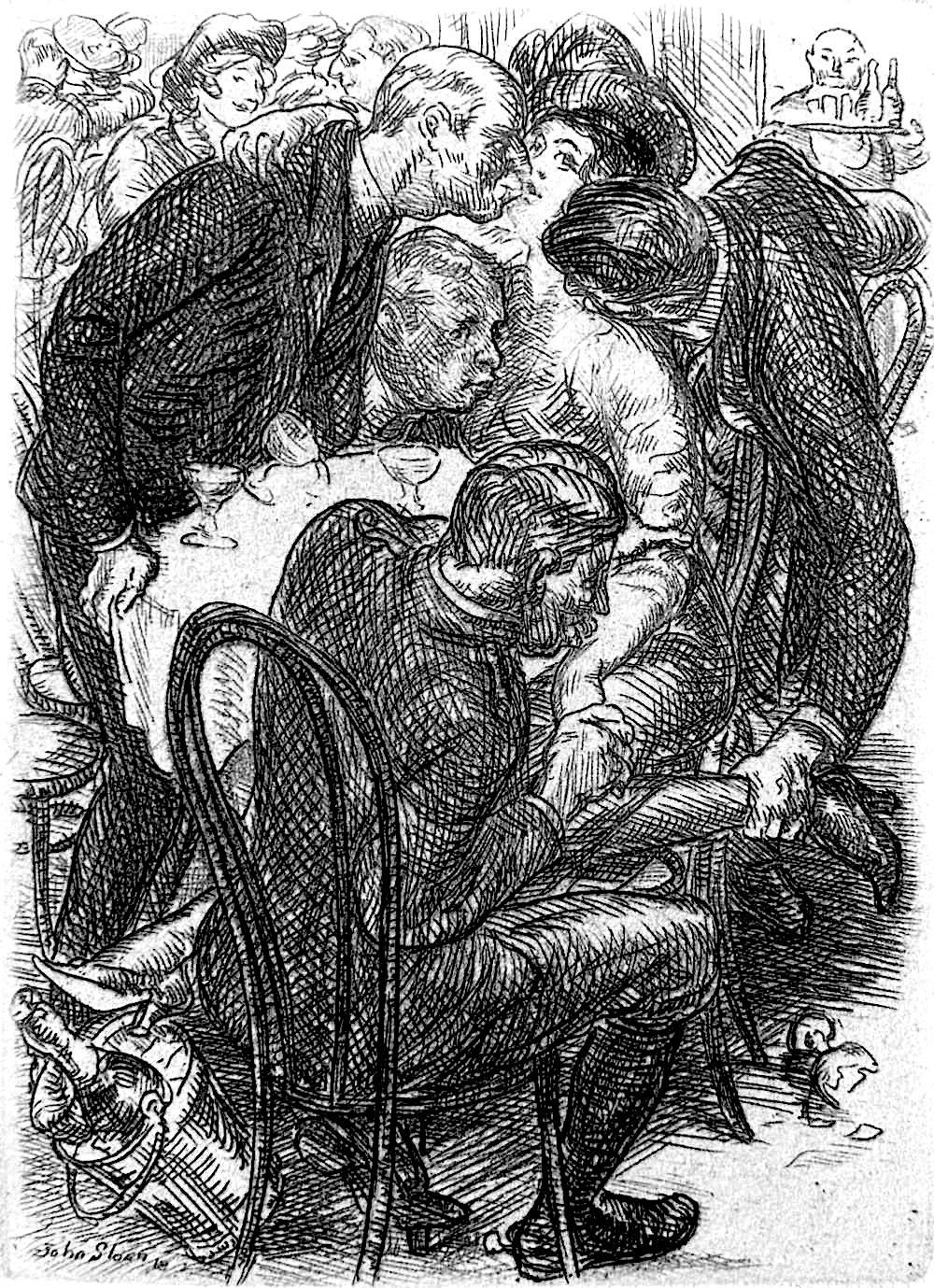 Ja ohn Sloan image of four men loving a sex worker in a public night club