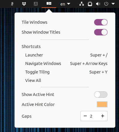 Pop Shell extension menu top bar