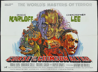 Wyrd Britain reviews 'Curse of the Crimson Altar' starring Christopher Lee, Boris Karloff & Barbara Steele.