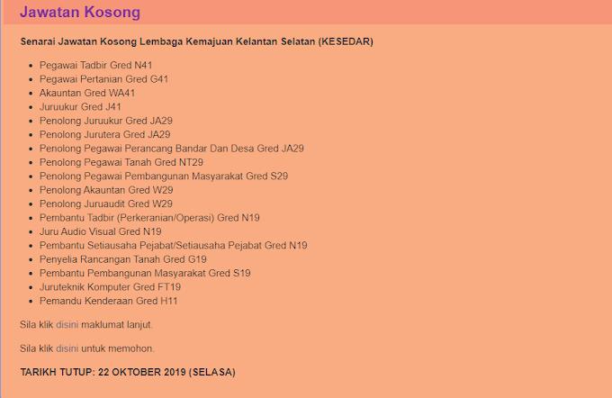 Jawatan Kosong Terkini di Lembaga Kemajuan Kelantan Selatan (KESEDAR).