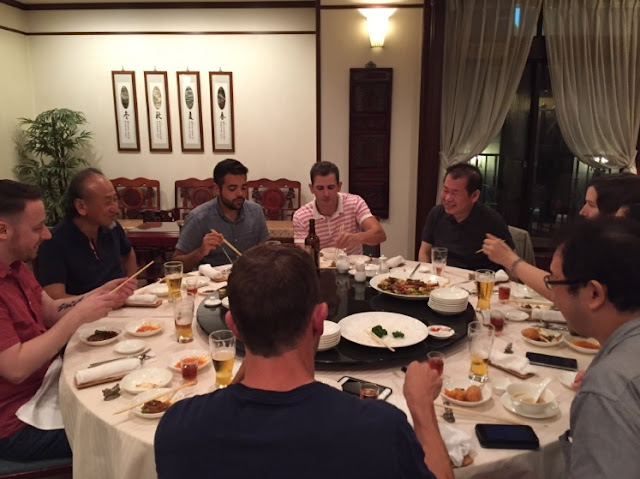Yu Suzuki & backers at the Japan Dinner in 2016