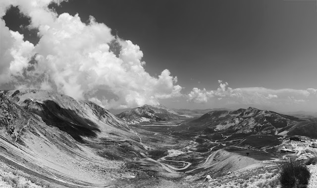 Panoramic view of Campo Imperatore in black and white